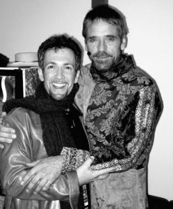 Rehearsing with Jeremy Irons backstage at the Hollywood Bowl during CAMELOT